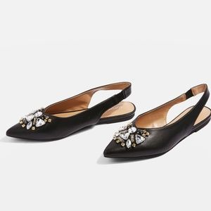 TopShop jeweled slingback pointy toe flats size 6